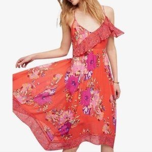 Anthropologie Maeve Grecia Red Floral Dress